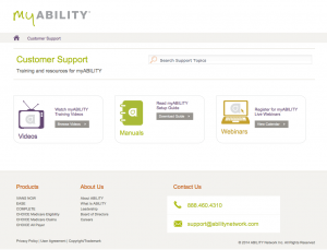 myABILITY support page